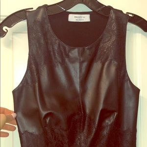 Bailey 44 leather tank with lace embellishment
